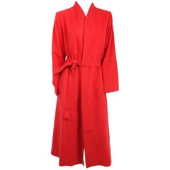 1970s Red Vegan Suede Wraparound Coat