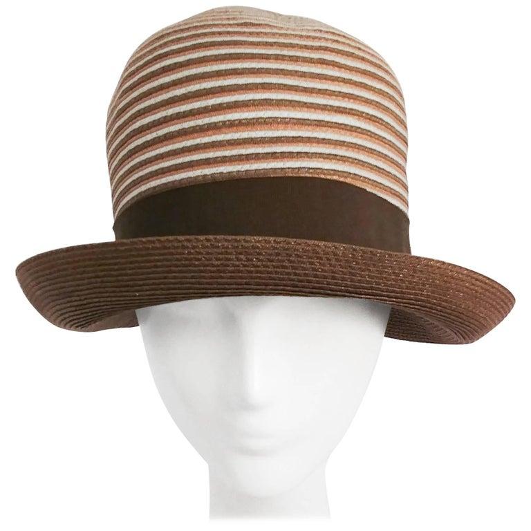 1960s Brown & White Stipe Woven Cloche Hat For Sale