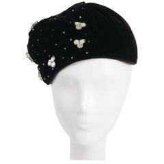1940s Black Velvet Hat w/ Beading