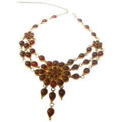 Exotic Cranberry Glass Cabochon Choker Necklace