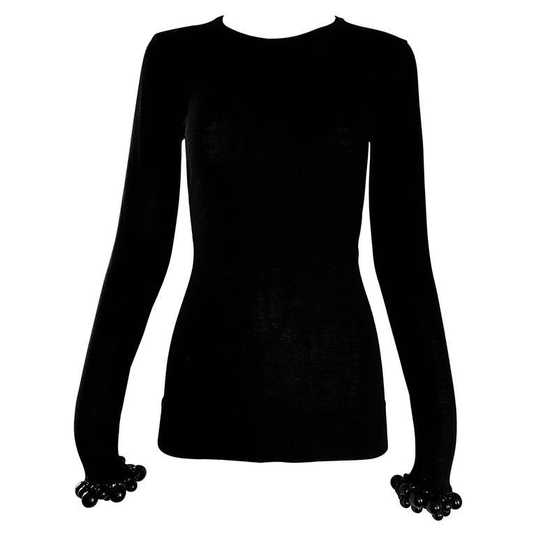 NWT Burberry Prorsum Jet Black Virgin Wool Sweater w/ Large Beaded Cuffs NEW