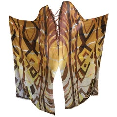 Emilio Pucci Sheer Patterned Caftan with Leather Lace Up Straps New with Tags