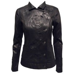 Chanel Black Leather Jacket With Cutout Appliqué Camellias Sz 36 (US 4)