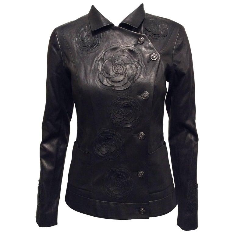 Chanel Black Leather Jacket With Cutout Appliqué Camellias Sz 36 (US 4) For Sale