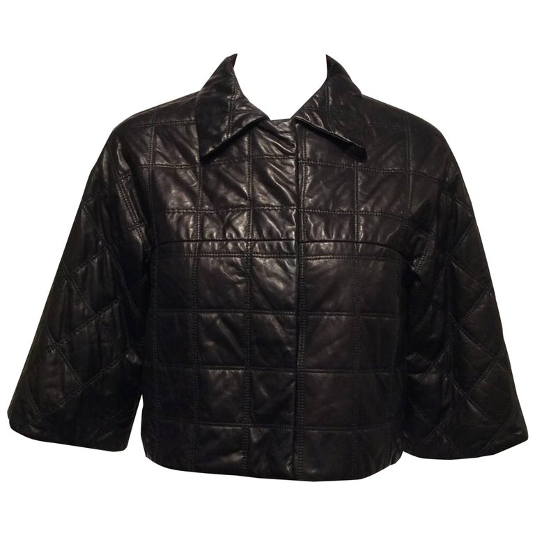 Prada Black With Quilted Pattern Leather Jacket Sz 38 (Us 2)