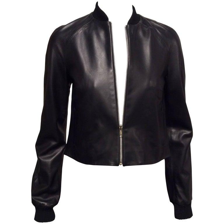 Christopher Kane Black Leather Bomber Jacket  UK Sz6 (US 2)