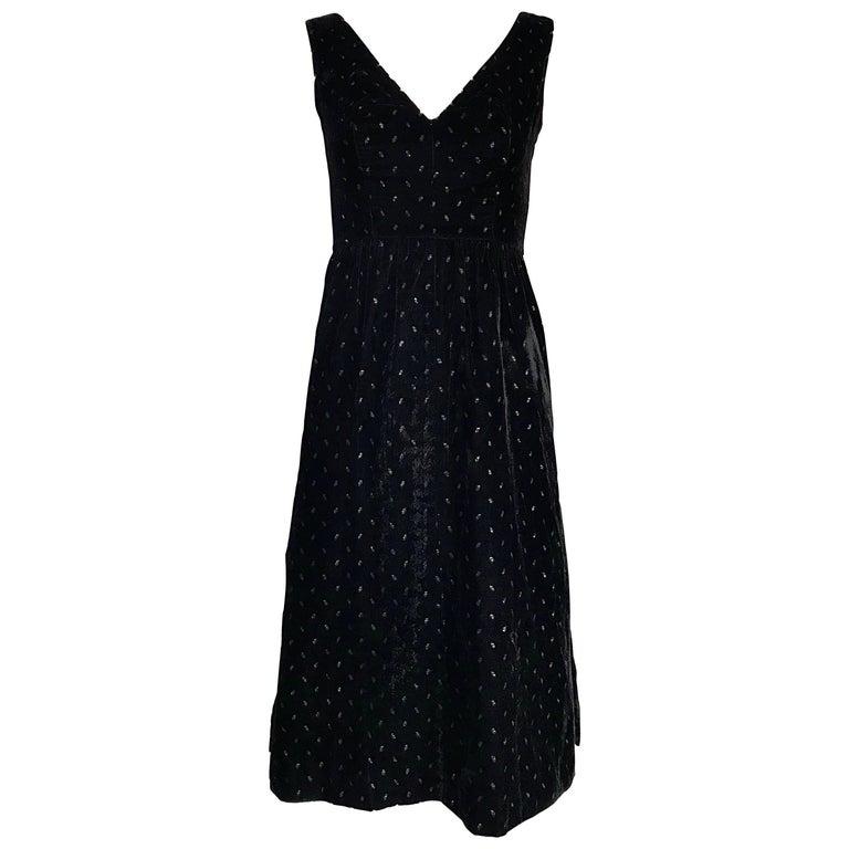 1960s Courreges Black Velvet Metallic Beautiful Vintage 60s A Line Dress