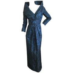Oscar de la Renta Vintage Teal & Black Jacquard Evening Dress w Portrait Collar