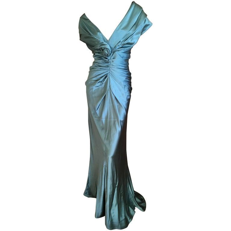 Christian Dior by John Galliano Exquisite Low Cut Silk Evening Dress  1