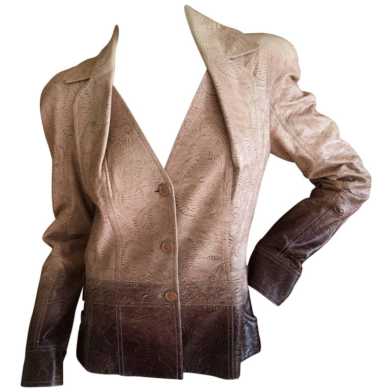Christian DIor by John Galliano Western Tooled Leather Ombre Bar Jacket