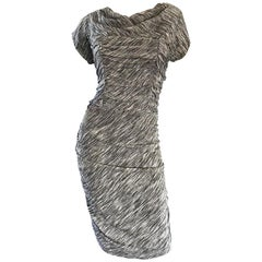 1950s Black + White + Silver Silk Lurex Demi Couture Vintage 50s Wiggle Dress