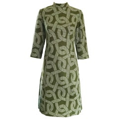 1960s Hunter Green + White ' Chain ' Print 3/4 Sleeves Vintage 60s Wool Dress