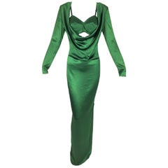 S/S 2010 Jean Paul Gaultier Emerald Satin Cone Bra & Plunging Gown Dress w Slit