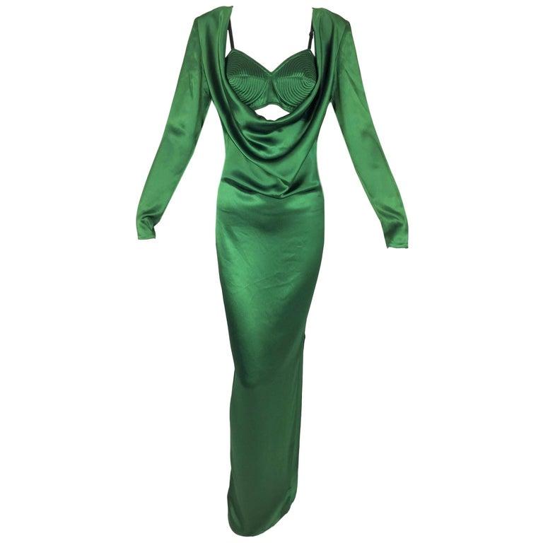 S/S 2010 Jean Paul Gaultier Emerald Satin Cone Bra & Plunging Gown Dress w Slit