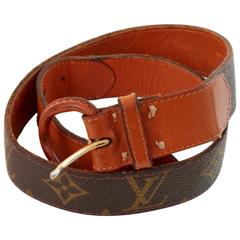 Vintage Louis Vuitton for Saks Monogram Canvas Belt with Leather Buckle 70s 24