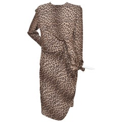 Lanvin Hiver Pre-Fall 2010 Long Sleeved Leopard Print Cocktail Dress New 40