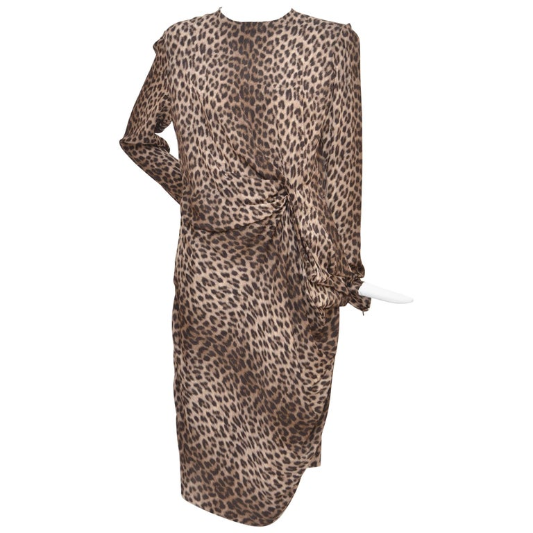 d2a5a3aba4b8 Lanvin Hiver Pre-Fall 2010 Long Sleeved Leopard Print Cocktail Dress New 40  For Sale
