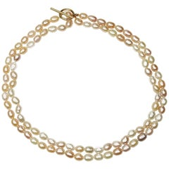 Double Strand Peach color Freshwater Pearl Necklace