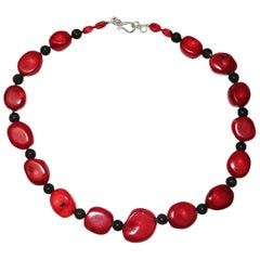 Deep Red Bamboo Coral Graduated Slices Necklace