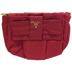 Prada Red Nylon Zipper Clutch