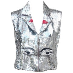 1980's Silver Sequined Face Vest