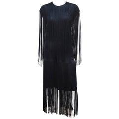1980's Flapper Style Black Jersey Fringe Dress