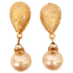 80'S Gold & Faux Pearl Bead Swarovski Crystal Drop Earrings By, Christian Dior
