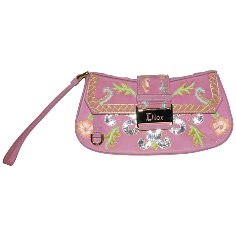 LIMITED EDITION Lovely Dior Canvas Clutch Silver Embroidery and flowers For Sale