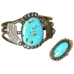 Maisel's Indian Trading Post Sterling and Turquoise Cuff Bracelet and Ring Set
