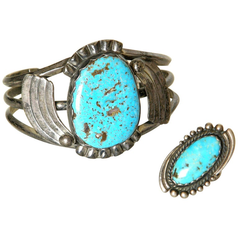 Maisel's Indian Trading Post Sterling and Turquoise Cuff Bracelet and Ring Set For Sale