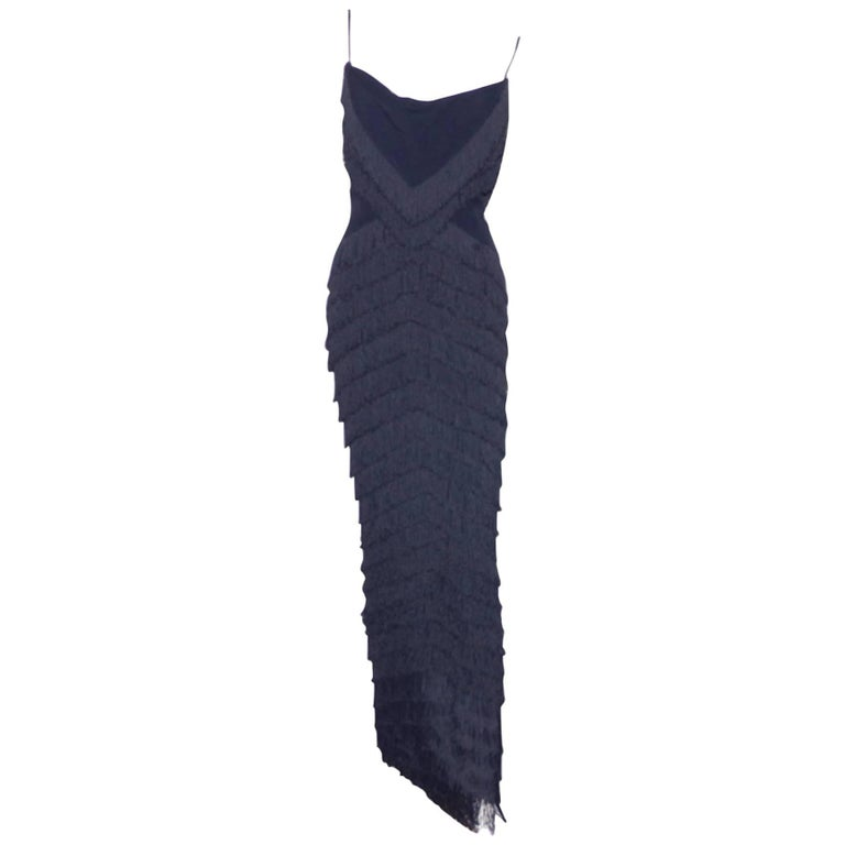 RARE Dior Boutique Long Dress Fringes Black S size or 38 / EXCELLENTE CONDITION  1