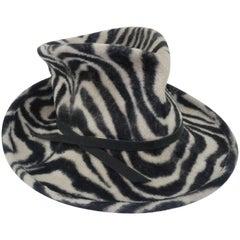 Sculptural Philip Treacy Stylized Wool Animal Print Fedora Hat
