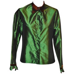 ETRO Green Silk Blouse with Brown Accents 44 Itl