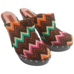 Missoni Italy Chevron Ebony Wood Platform Sandals Size 39