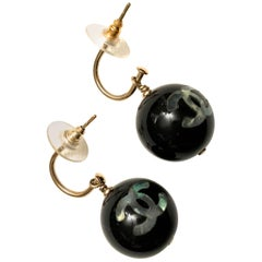 Chanel Earrings - Black Lucite w/ Mother of Pearl CC Inlay
