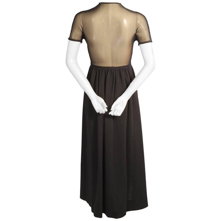 Rudi Gernreich Black Wool Knit Dress with Sheer Black Silk Back