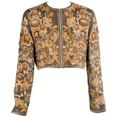 Bill Blass  Beaded Evening Jacket Charcoal Grey and Camel Sequins and Embroidery