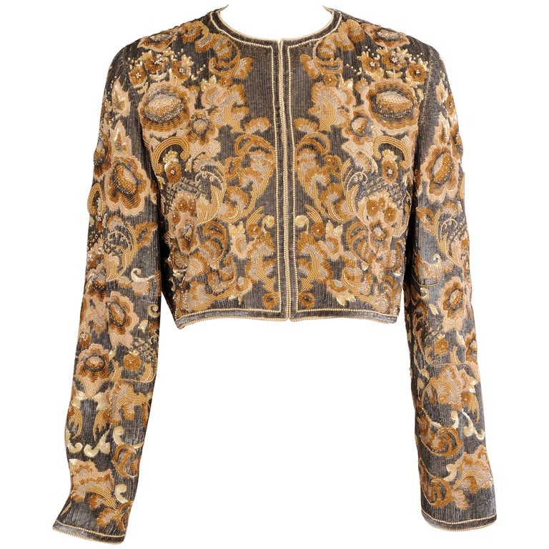 Bill Blass  Beaded Evening Jacket Charcoal Grey and Camel Sequins and Embroidery For Sale