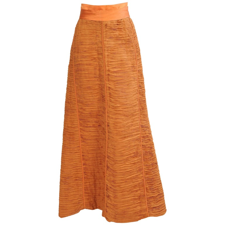 Sybil Connolly Irish Couturier Melon Colored Pleated Linen Evening Skirt For Sale