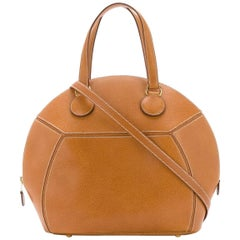 Hermes Cognac Leather Bowling Top Handle Satchel Shoulder Bag