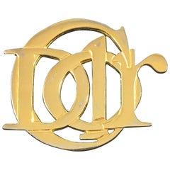 Vintage Christian Dior Large Goldtone Logo Brooch