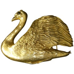 Christopher Ross Massive Gilt Metal Swan Belt Buckle c 1983