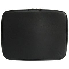 Louis Vuitton Black Leather iPad Document Travel Case Bag
