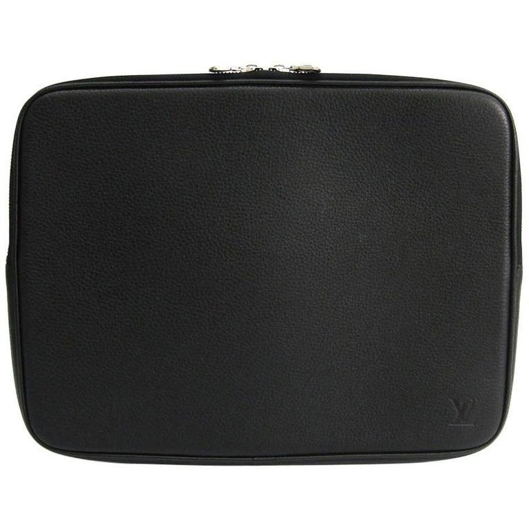 Louis Vuitton Black Leather iPad Document Travel Case Bag