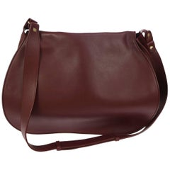 Cartier Leather Bordeaux Men's Women's Crossbody Carryall Shoulder Bag With Box