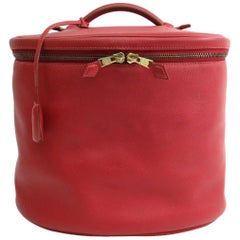 Hermes  Red Leather Vanity Jewelry Travel Storage CarryAll Bag