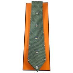 Hermes Green Tie with Drum and Drumstick Pattern in Original Box