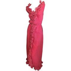 Maison Mendessolle 1940's Ruffled Polka Dot Dress with Belt