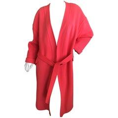 Elizabeth Arden 1960's Tangerine Pure Cashmere Belted Wrap Coat