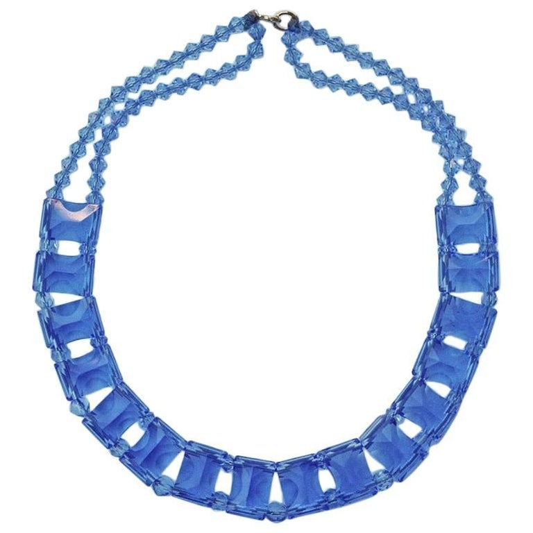 Art Deco Blue Glass Necklace Collar For Sale